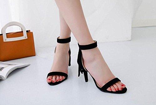 de Pumps Open Tassel GLTER Suede alto black Lady Toed Sandalias Zapatos de Shoes tacón corte x7fnwqT5F