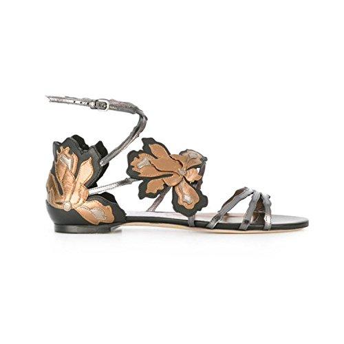 Bout Taille Ouvert Femmes Plates À 2017 Sandales De Nouvelles Gray Doux Spell Plat Color Été Fleurs Chaussures Couleur 35 PqwgTxp