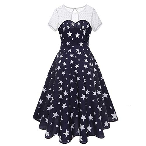 Ganenn Vintage 4th of July Women's American Flag O Neck Mesh Dress Short Sleeve Patriotic USA White and Blue Star Casual Evening Party Prom Swing Dress Beach Dress (XXL, Blue) ()