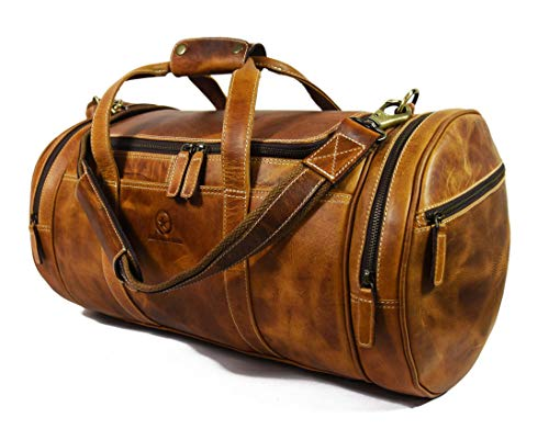 Travel Duffel Overnight Barrel Weekend Leather Bag by Aaron Leather (Brown) (Best Leather Weekend Bag)
