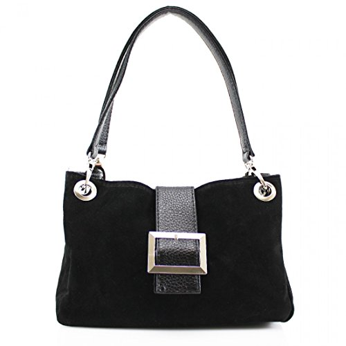 Small Women Size Women's Shoulder Pockets Ladies For Bag Leather Black LeahWard Three Suede Zip Real With AO5nFqWq
