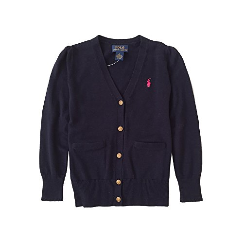 Polo Ralph Lauren Little Girl's Cotton Cardigan, Navy (5)