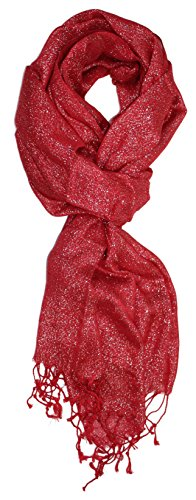 Ted and Jack - Hollywood Dreams Sparkling Metallic Scarf (Crimson with Silver Flecks)