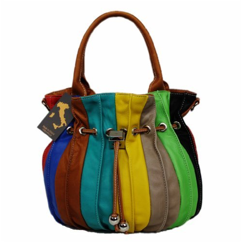 LEATHERWORLD  Italy, Borsa a spalla donna Multicolore multicolore groß