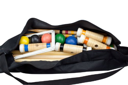Deluxe Heavy Duty Wooden 6 Player Croquet Set - Includes Bonus Carrying Case! by CSG