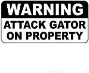 Great Tin Sign Warning Attack Gator On Property Aluminum Metal Sign Wall Decoration 12x8 Inch