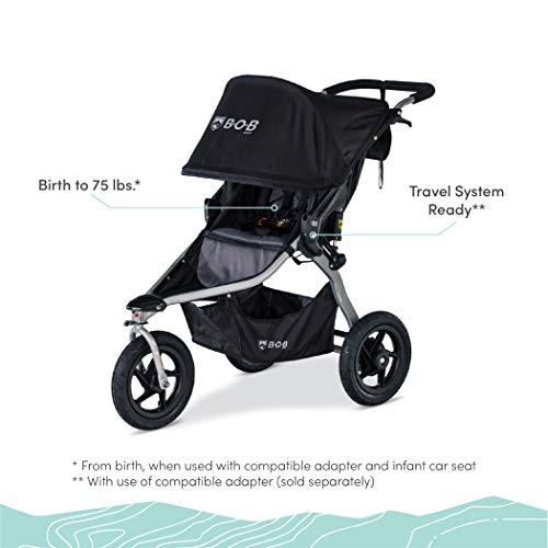 411VInV6ClL - BOB Gear Rambler Jogging Stroller | Smooth Ride Suspension + Easy Fold + XL Canopy Coverage, Black [New Logo]