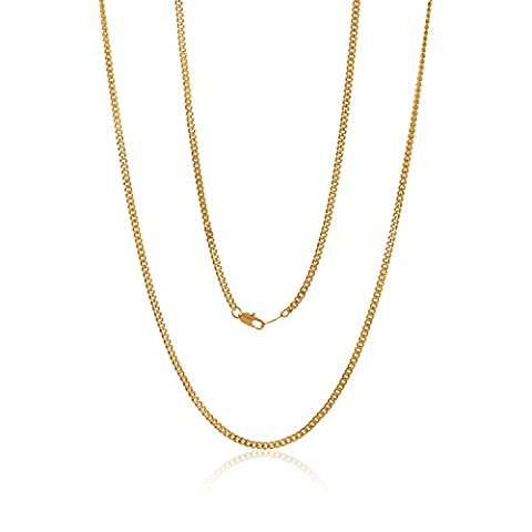 3mm Gold Plated Flat Cuban Link Curb Chain Necklace, 18