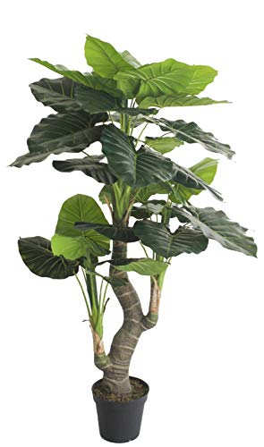 AMERIQUE 5.5 Feet Hawaiian Punch Elephant Ear Colocasia Artificial Plant with Giant Striking Green Leaves, UV Protection, Pre Nursery Pot, Feel Real Technology