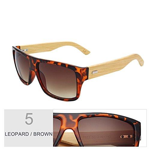 Madera De Gafas Brown Gafas Mujeres De De Brown TIANLIANG04 Gafas Bambú Leopard De Mujer Deporte Uv400 Unisex Sol D Leopard Hombre Era De De Gafas Sol pnTqz4Fn