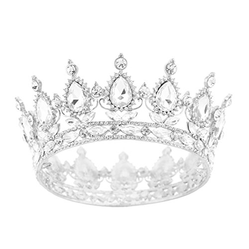 SSNUOY Silver Diamond Shape Tiara for Brides Pageant Crowns - Round Crown