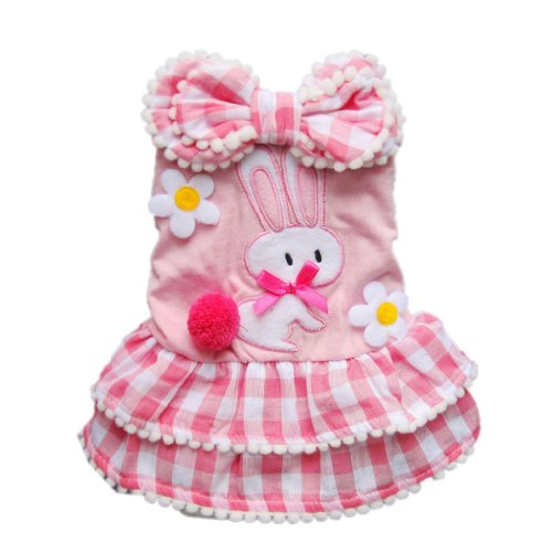 Sweetie Pink Dog Dress Tiered Pet Dress Cozy Plaid Dog Shirt Dog Clothes Free Shipping,S, My Pet Supplies