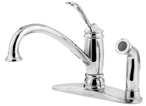 Pfister F0343ALC Brookwood 1-Handle Kitchen Faucet with Side Spray, Polished Chrome, 2.2 - Kitchen Brookwood Brookwood Faucet