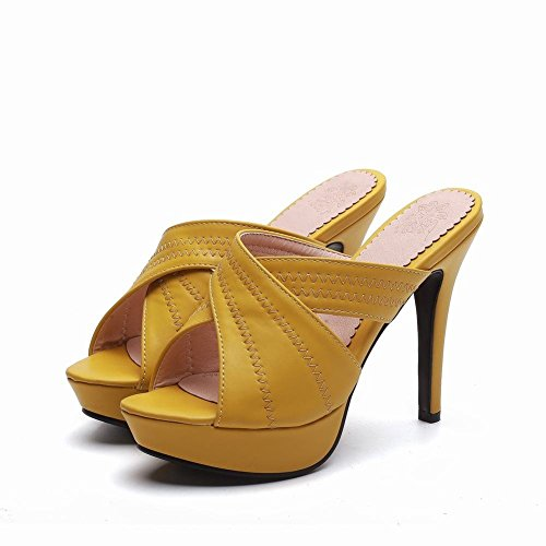 YE Damen Offene High Heels Plateau Mules Slingback Sandalen Stilettos Pantoletten Sommer Elegant Party Schuhe  Gelb