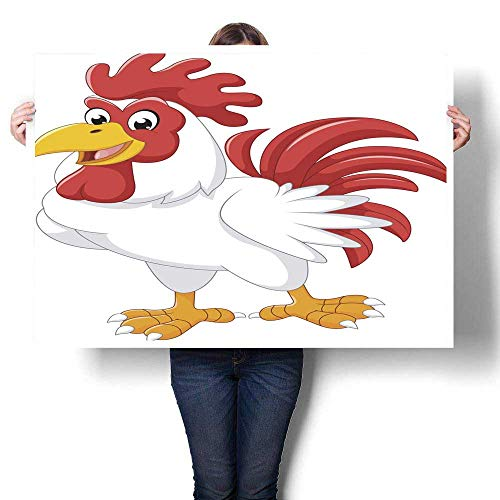 Anyangeight Wall hangings Cartoon Chicken Rooster Posing Decorative Fine Art Canvas Print Poster K 48