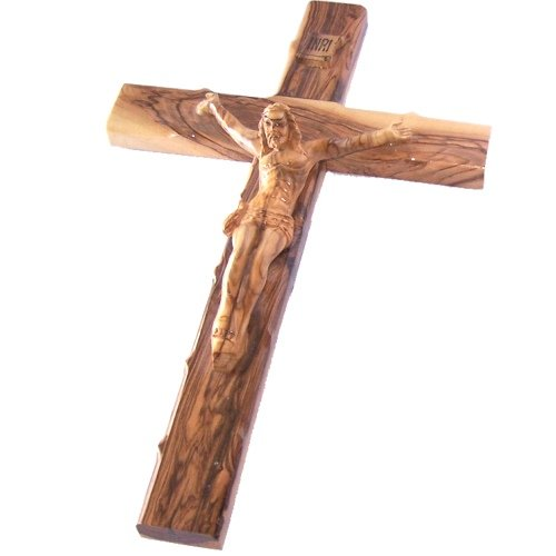 Holy Land Market Large Olive wood Cross with Crucifix - all from Olive wood from Bethlehem (14 inches or 35 cm)
