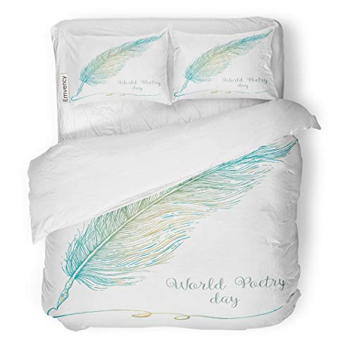 Tarolo Bedding Duvet Cover Set Writer Sketch of Fountain Pen World Poetry Day Quill Feather Poet Writing 3 Piece Queen 90