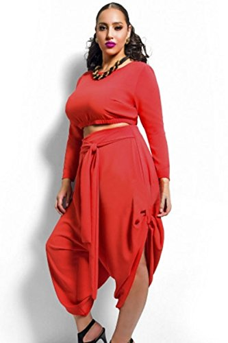 Rouge Taille Plus haut drapé Convertible pour Femme Lot de 2Pièces pour Femme pour Femme de Club Wear Vêtements Casual pour Femme Soirée Taille 14–16