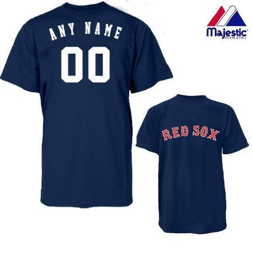 Boston Red Sox Personalized Custom (Add Name & Number) ADULT LARGE 100% Cotton T-Shirt Replica Major League Baseball Jersey ()