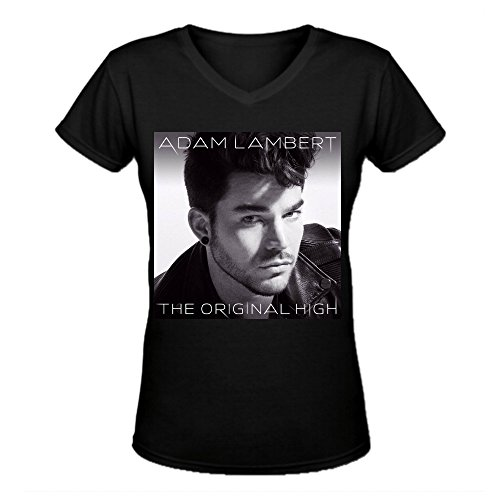 Adam Tee (Adam Lambert The Original High Personal Women's V-Neck Tee Shirts Black)