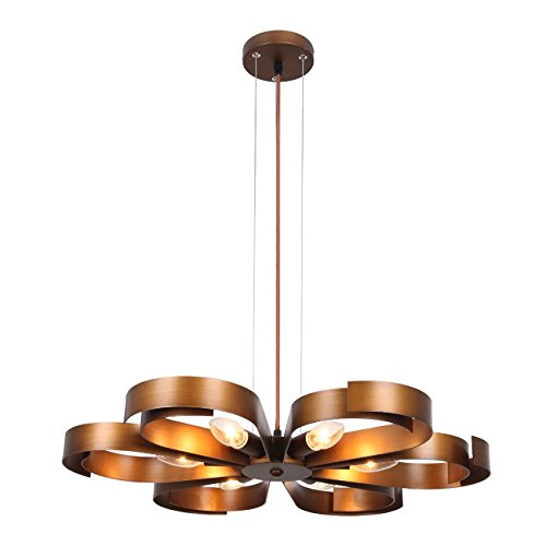 Unitary Brand Antique Copper Metal Floral Pendant light with 6 E12 Bulb Sockets 360W Copper Finish
