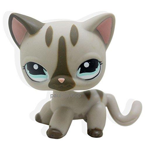 LHJ #468 Littlest Pet Shop Gray Cat kitty Short hair With Aqua Blue Eyes LPS - Blue Cat Gray