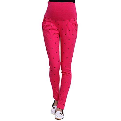 Highdas embarazadas Mujeres abdominales pantalones de maternidad de alta elasticidad pantalones de las polainas del vientre Rosa