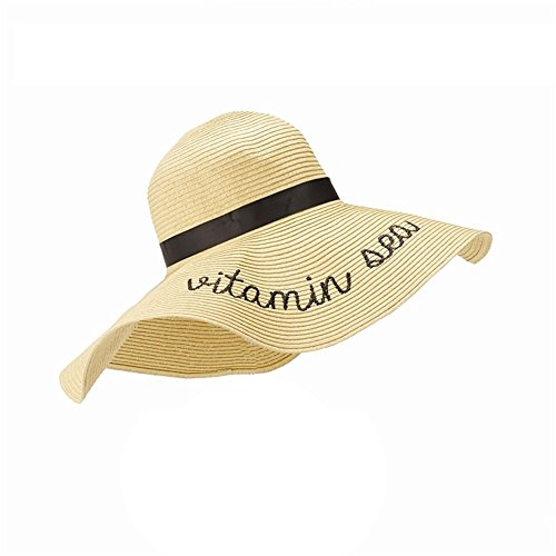 State of Mind Straw Sun Hat with a Statement - Black Embroidered - 16-3/4-in (Vitamin Sea - Black Embroidered)