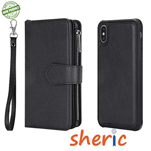 SHERIC Wallet Case for iPhone XR 2018 PU Leather flip case Cover, Kickstand Feature, with Wrist Strap and 6-Slots ID & Credit Cards Pocket, Photo Frame and Phone Back Case for iPhone XR 6.1