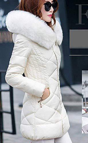 Espesar Parka Mujer Moda Capucha De Piel Invierno Modernas Abrigo Plumas Blanco Fit Con Elegantes Imitación Manga Pluma Larga Unicolor Slim Caliente Acolchado txUqOI