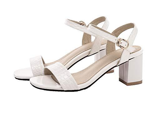 Correct Talon Sandales Couleur à Blanc Femme Unie Ouverture d'orteil AalarDom Y8q1w70x
