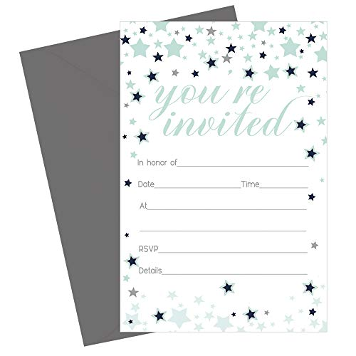 Star Invitations with Envelopes - Navy and Mint (Set of 15 Cards) Baby Shower, Reveal Party Announcements