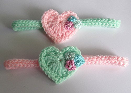 Headband / Heart and Flowers Baby Headband / Mint and Pink Headband with Pearl Beads / Newborn to 3 months/ Set of two (2) (3 Jeweled Bead)