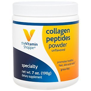 Collagen Peptides Powder Unflavored, Promotes Healthy Hair, Skin, Joint Nails from Grass Fed Bovine, Gluten Free Natural Peptide (7 Ounces Powder) by The Vitamin Shoppe