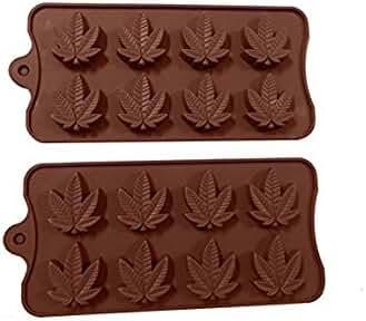 Joinor 1 Set of 2pcs Marijuana Leaf Silicone Fondant Gummy Candy Mold Ice Cube Trays, Chocolate Mold, Jelly Mould