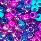 Dark Berry Blue & Purple Mix Multicolor Plastic Pony Beads 6x9mm, 1000 beads bulk bag