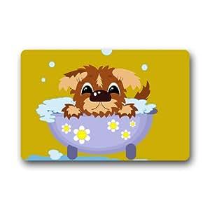 Cottage Decor Helper Original personalizado Cute Cartoon Puppy de perro en baño Fuuny impreso Felpudo 23,6x 15,7