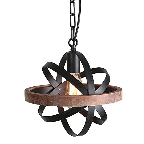 Giluta Spherical Displays Changeable Wood Pendant Light for Kitchen Island, Rustic Industrial Edison Hanging Light Dining Room Vintage Ceiling Light Fixture 1-Light, Black (P0032)