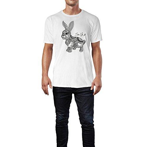 SINUS ART ® Handgemalter Hase mit Ornamenten Herren T-Shirts in Weiss Fun Shirt mit tollen Aufdruck
