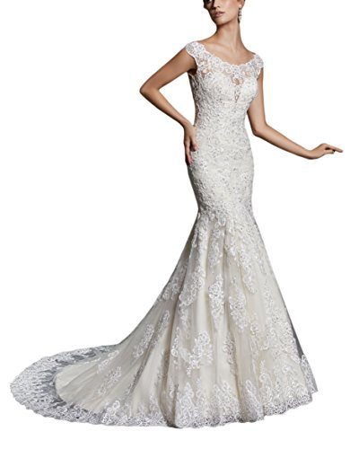 LoveMyth Women's Sweep Train High Scoop Neckline Lace Appliques Bodice Button Back Timeless Wedding Dress 2018 Ivory 22w