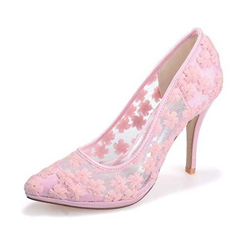 Clearbridal Women's Lace Wedding and Prom Shoes with High Heel ZXF0255-31 Pink rQNuDMtPDI