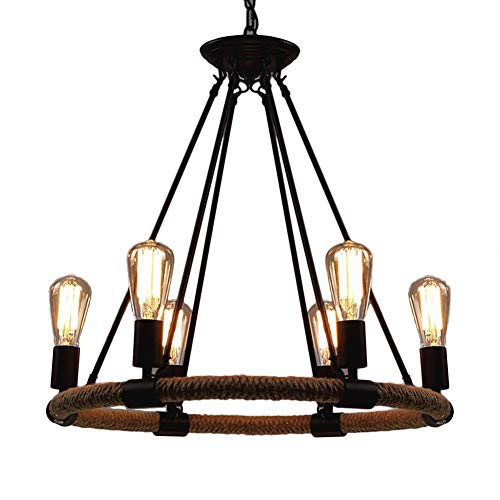 Round Hemp Rope Chandelier, Motent 23.6