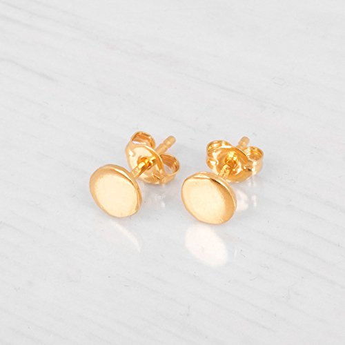 Vermeil Earrings Disc (Gold Circle Stud Earrings - Designer Handmade 5mm Delicate Flat Disc Post Earrings)