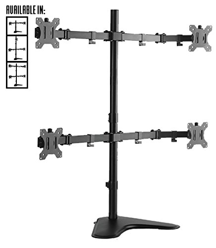 Stand Steady Four Screen Monitor Arm | 4 Monitor Mount - Free Standing | Adjustable with Full Articulation | Quick Release VESA Mounts - Installs in Minutes! (4 Monitors Free Stand) by Stand Steady
