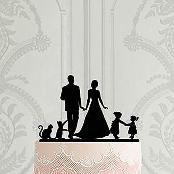 Decoración para tarta de boda familiar con 2 niñas y 2 gatos, decoración personalizada para tarta con niños y mascotas: Amazon.es: Hogar