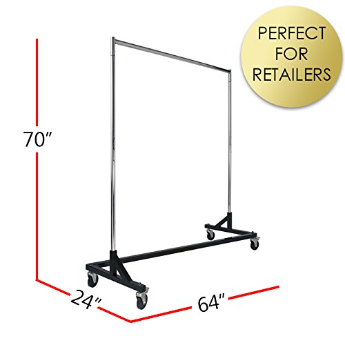 Commercial Garment Rack (Z Rack) - Rolling Clothes Rack, Z Rack With KD Construction With Durable Square Tubing, Commercial Grade Clothing Rack, Heavy Duty Chrome Commercial Garment Rack - Black from Econoco