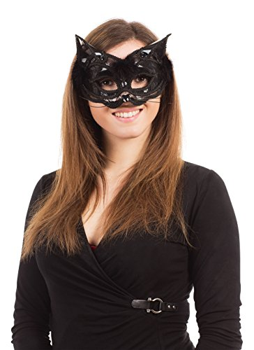 Black Cat Eye Mask With Marabou Feather Trim -