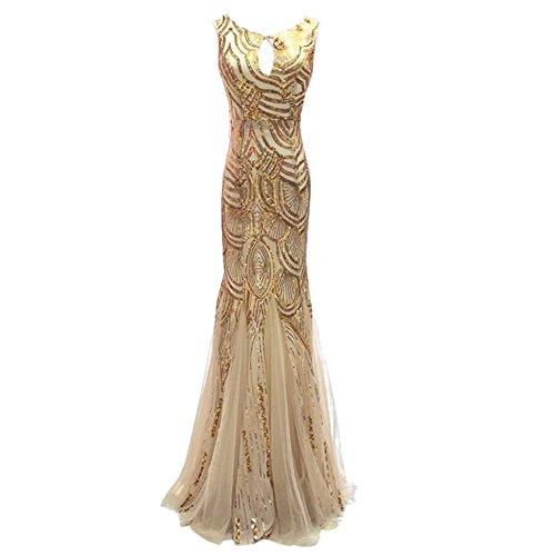 Drasawee Longues Paillettes Soirée De Bal Mariée Sirène Backless Robes De Partie De L'or Des Femmes