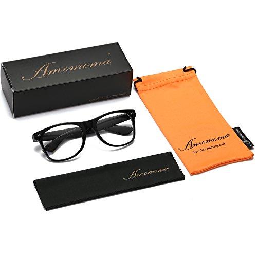 e65a8c34eed68 Amomoma Unisex Wayfarer Non-prescription Glasses Frame Clear Lens Eyeglasses  AM5015 With Black Frame Black Temple