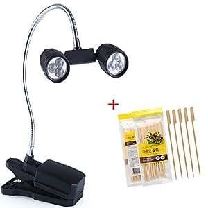 tianmeijia 360° ajustable al aire libre LED lámpara luz abrazadera de barbacoa barbacoa parrilla luz con 30pcs tianmeijia 7,87cm pinchos de bambú púas de remo para barbacoa púas